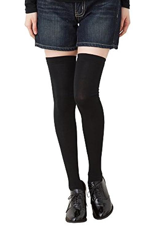 平和なスリラー意図着圧 ニーハイソックス (平無地?60cm丈) ブラック 黒 靴下 レディース