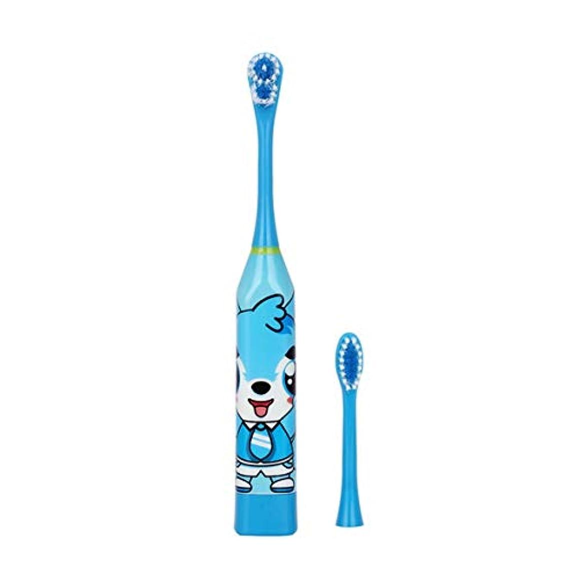 株式フォーマット退院Intercoreyかわいいデザイン子供電動歯ブラシ漫画パターン両面歯ブラシヘッド電動歯ブラシ子供用