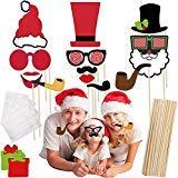 フォトブース小道具 クリスマスパーティー用 面白いDIYキット クリスマスデコレーションとサプライ レディース メンズ ガールズ キッズ (45個)