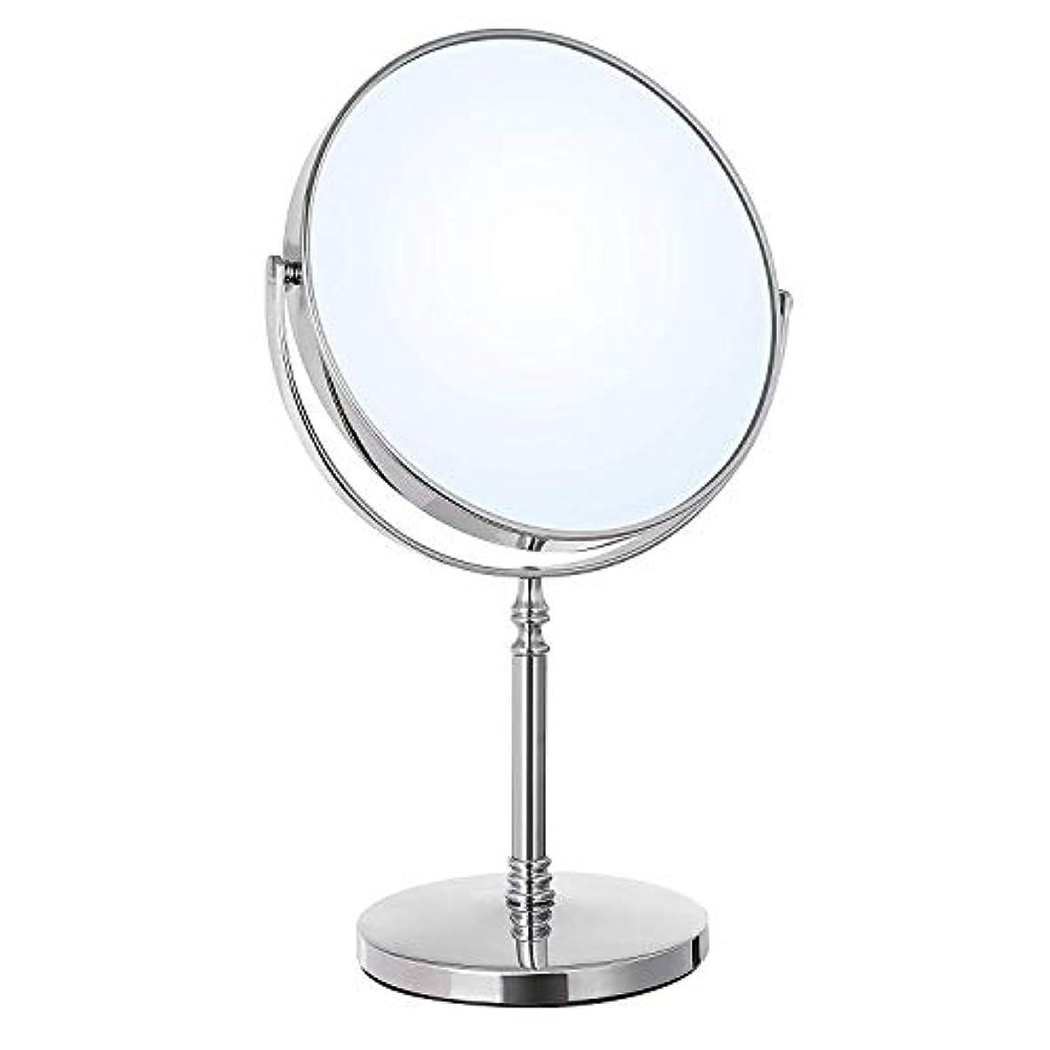 化粧ミラー 鏡 卓上 化粧鏡 両面鏡 3倍拡大鏡 360°回転 女優ミラー スタンド インテリアミラー 飛散防止 丸 光学レズン高解像度 ファッション シルバー (鏡面直径18cm)