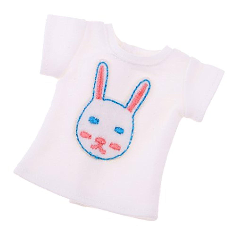 Fenteer ファッション ドール服 1/6スケール ブライス アゾン リカドール用 半袖トップス 白い刺繍シャツ 高品質