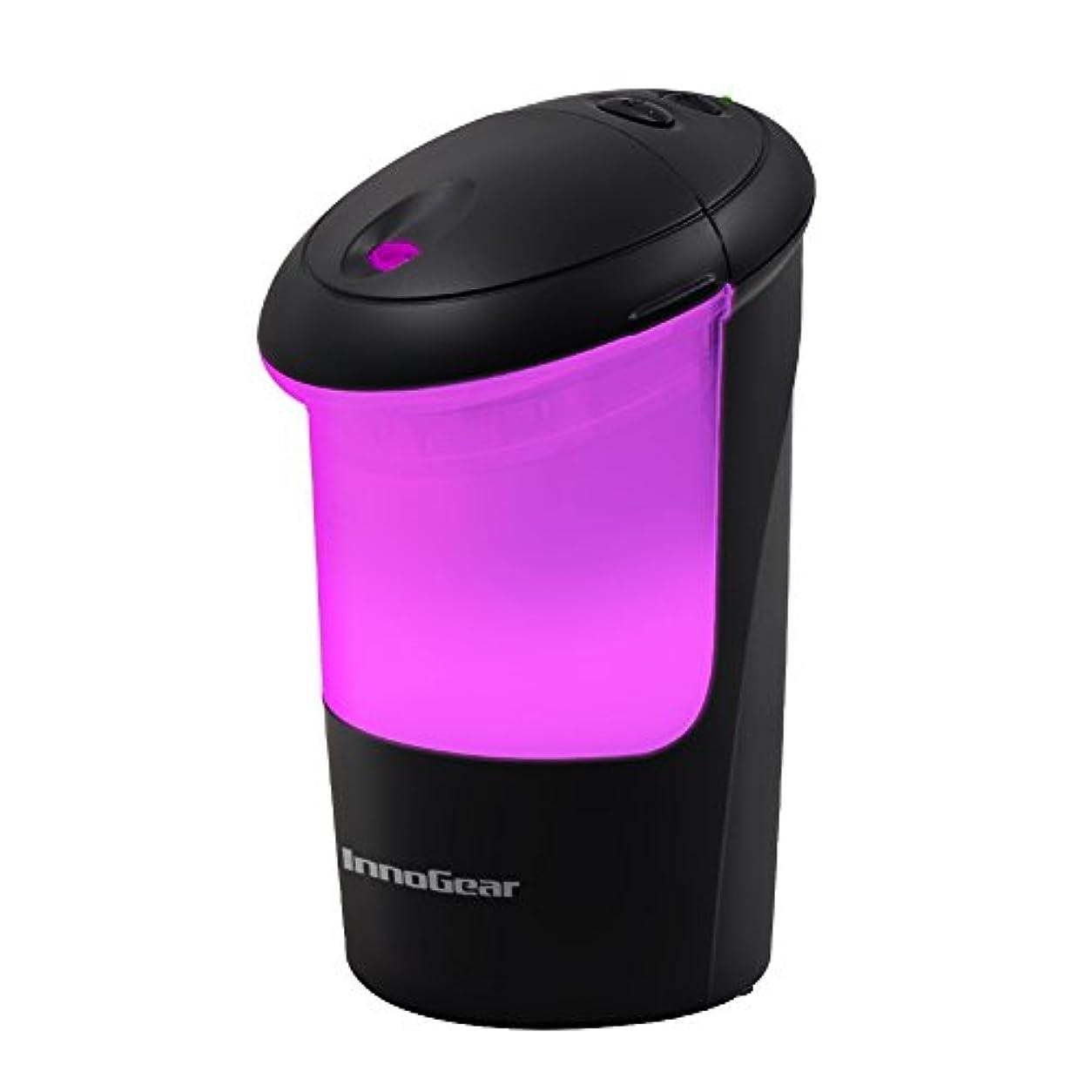 指標親指バースInnoGear USB車Essential Oil Diffuser Air Refresher超音波アロマテラピーDiffusers with 7カラフルなLEDライトオフィス旅行ホーム車の ブラック UD50