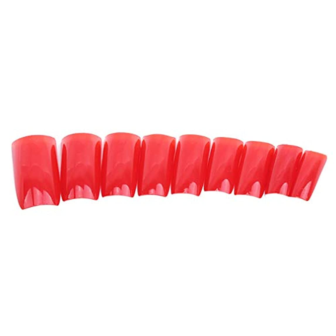 顔料差別的湿った火の色 ネイルチップ ネイルケアツール 短い爪 つけ爪 シンプル ネイルアート 結婚式 パーティー 二次会 赤色