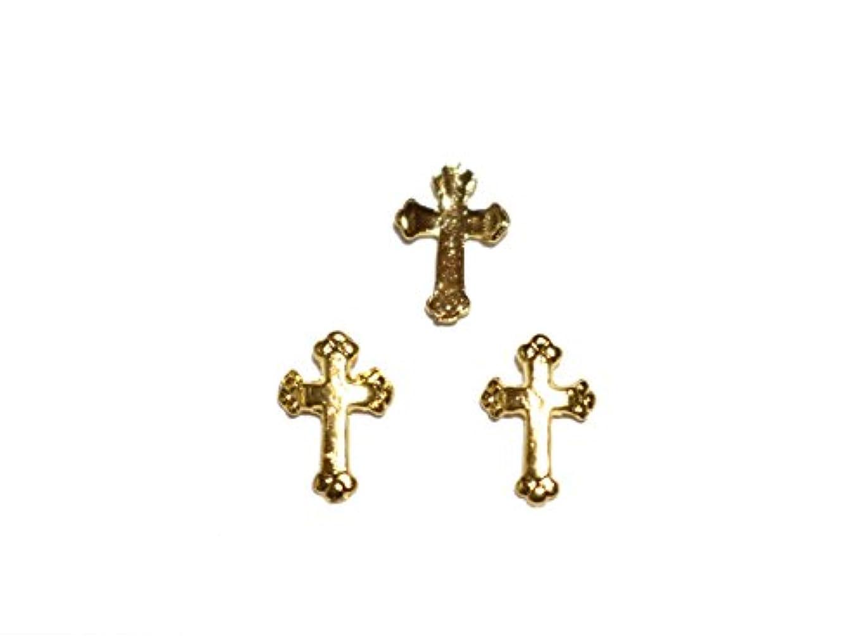 別のキャラバン記者【jewel】メタルネイルパーツ クロス 5個入 ゴールドorシルバー 十字架型 スタッズ ジェルネイル デコ素材 (ゴールド)