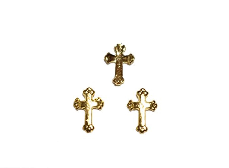 応じる静かに放映【jewel】メタルネイルパーツ クロス 5個入 ゴールドorシルバー 十字架型 スタッズ ジェルネイル デコ素材 (ゴールド)