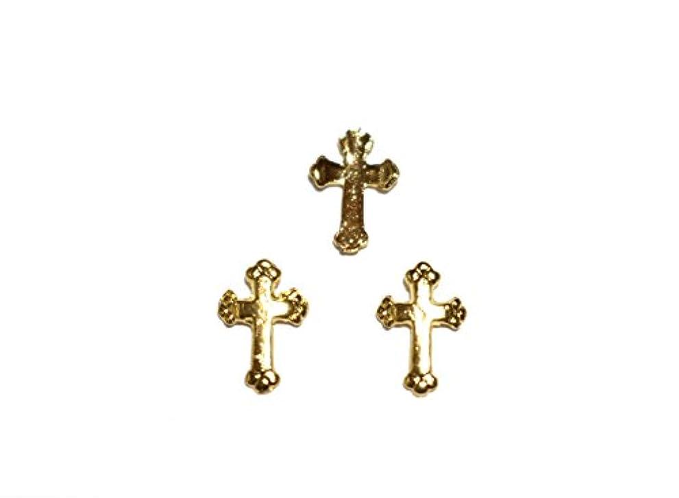 確かな一元化する算術【jewel】メタルネイルパーツ クロス 5個入 ゴールドorシルバー 十字架型 スタッズ ジェルネイル デコ素材 (ゴールド)