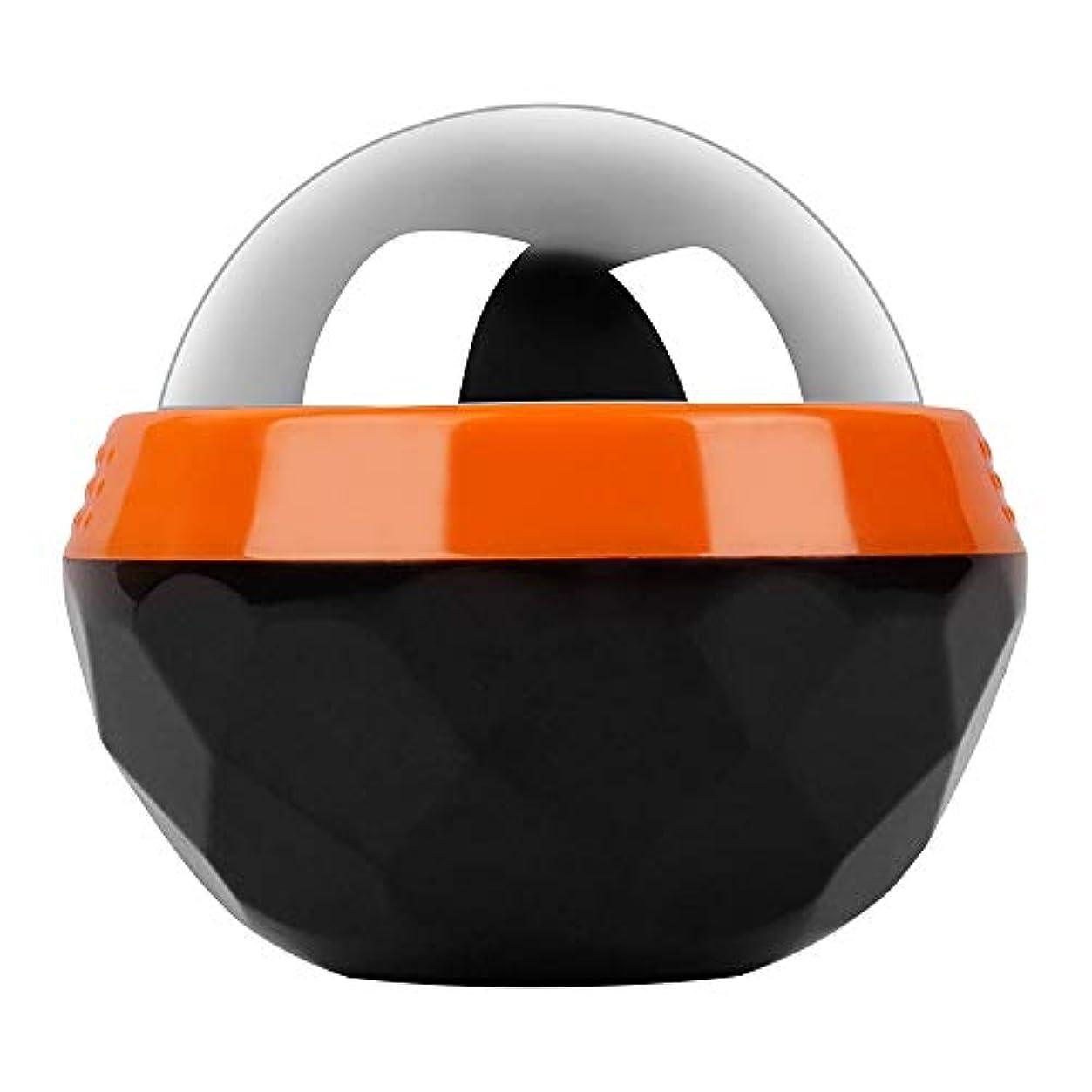 GeTooコールドマッサージローラーボール-2.4インチの氷球は6時間冷たさを持続、アイスセラピーディープティッシュマッサージ、オレンジとブラック