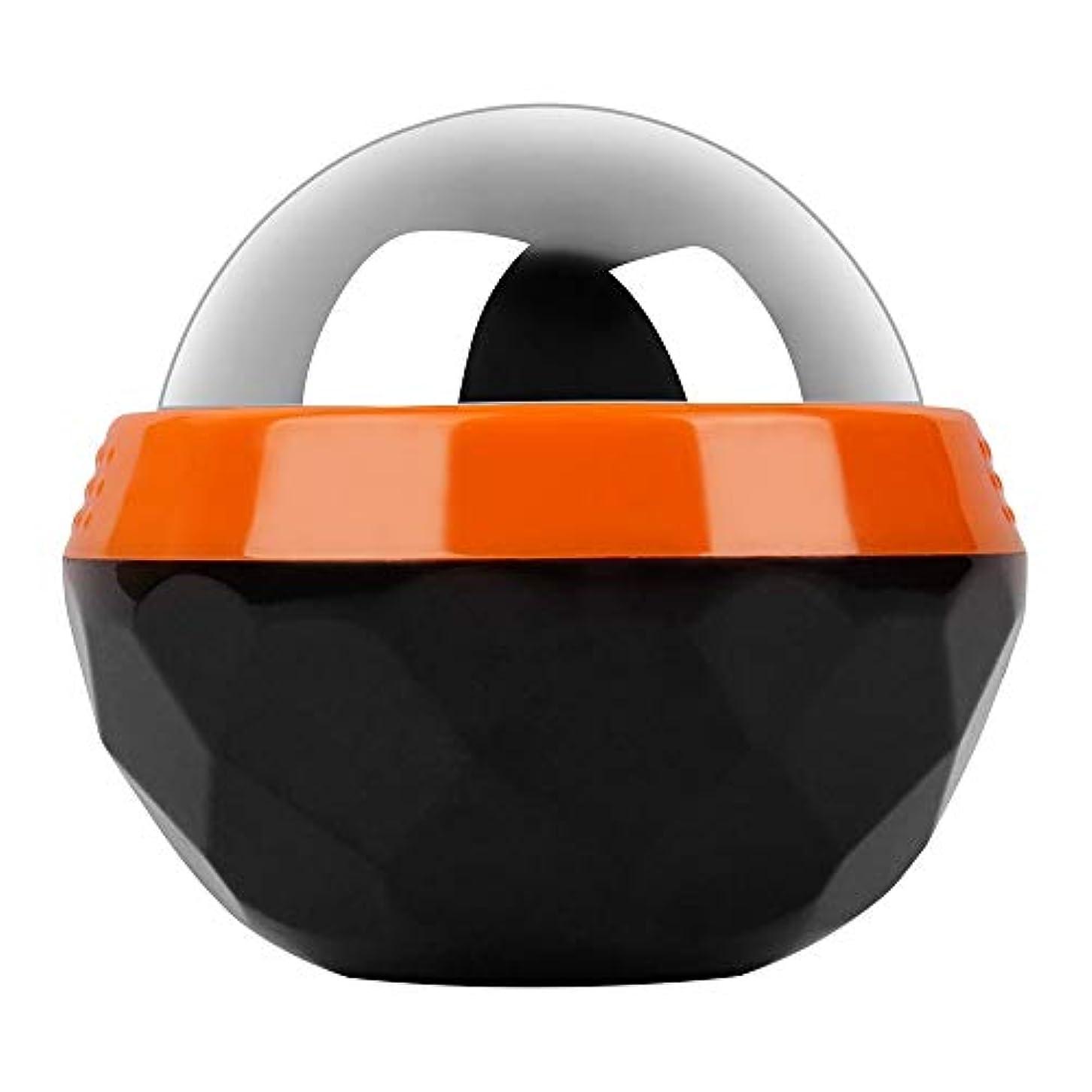 教科書カートン時計回りGeTooコールドマッサージローラーボール-2.4インチの氷球は6時間冷たさを持続、アイスセラピーディープティッシュマッサージ、オレンジとブラック