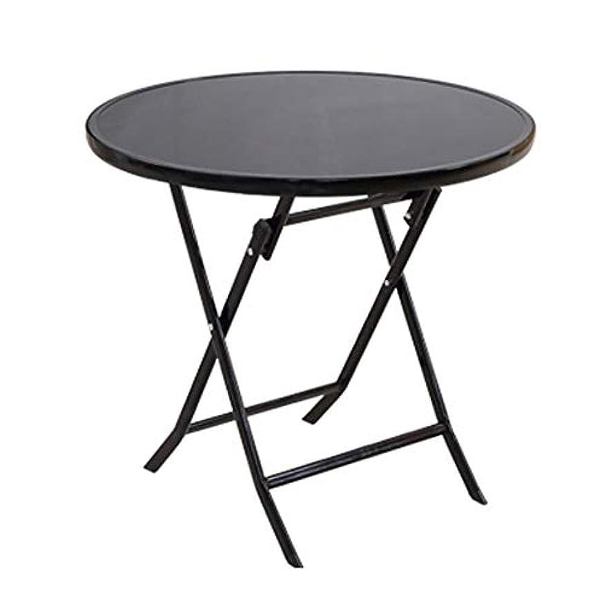 中毒ジョージハンブリーシールNJLCサイドテーブル、ホームシンプルな折りたたみ式テーブル折りたたみサイドテーブル屋外ポータブルラウンド折りたたみテーブル,80×80×68cm