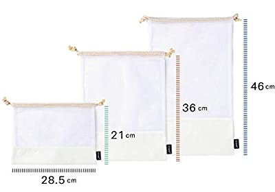NZ Home Reusable Mesh Produce Bags, Cotton Drawstrings, See Through, Washable, Tare Weight, 6 Pack
