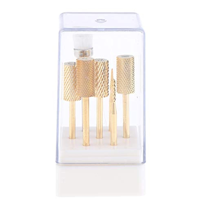 P Prettyia 7点 ネイルドリルビット 電動ネイルマシン適用 ゴールド ケース付き