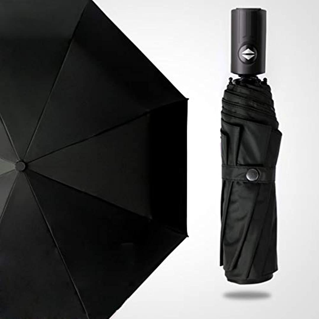 脊椎ドリル白菜コンパクトトラベル自動傘、オートオープンクローズ折りたたみ傘、強化防風フレーム、速乾性のある軽量、8リブ (Color : Black)
