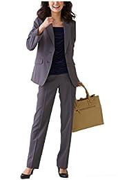 (ニッセン) nissen オフィススーツ パンツスーツ 上下 セット 洗える ストレッチ ロング丈 レディース 大きいサイズ