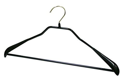 マワ すべり落ちない MAWAハンガー スーツ コート用 ボディーフォームバー付き (婦人 M 紳士 S・M サイズ) ブラック 1本 MA4431