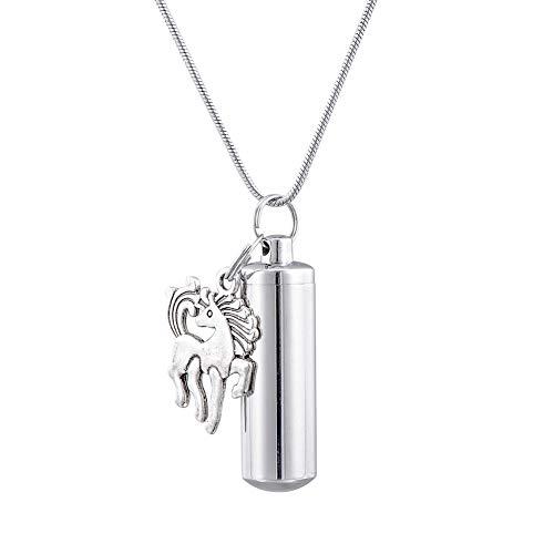 HooAMI[ホーアムアイ] メモリアルペンダント 防水 遺骨 ネックレス キーホルダー両用 馬チャーム ステンレス 3.8cmx1.1cm