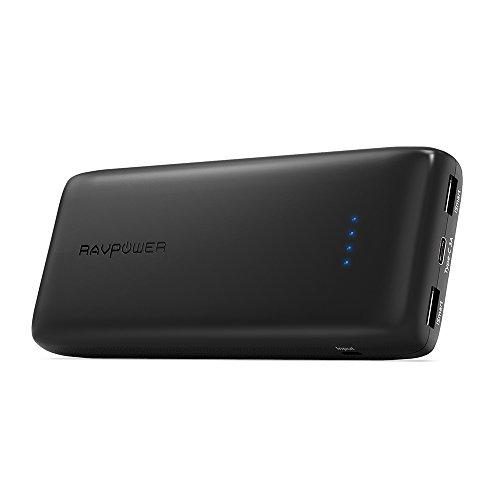 モバイルバッテリー RAVPower 22000mAh USB-C ポータブル充電器 ( 大容量 急速充電 USB 3ポート) 高品質なリチウムポリマー電池使用MacBook 、iPhone 、Switch 、Android 等対応 RP-PB009 ブラック