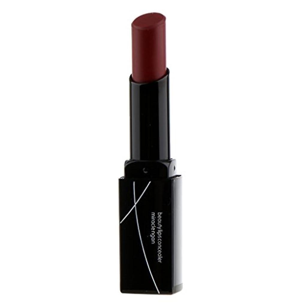 同様に用心するナインへ女性マットベルベットヌード鉛筆口紅リップグロス防水永続的なメイク - 暗赤色