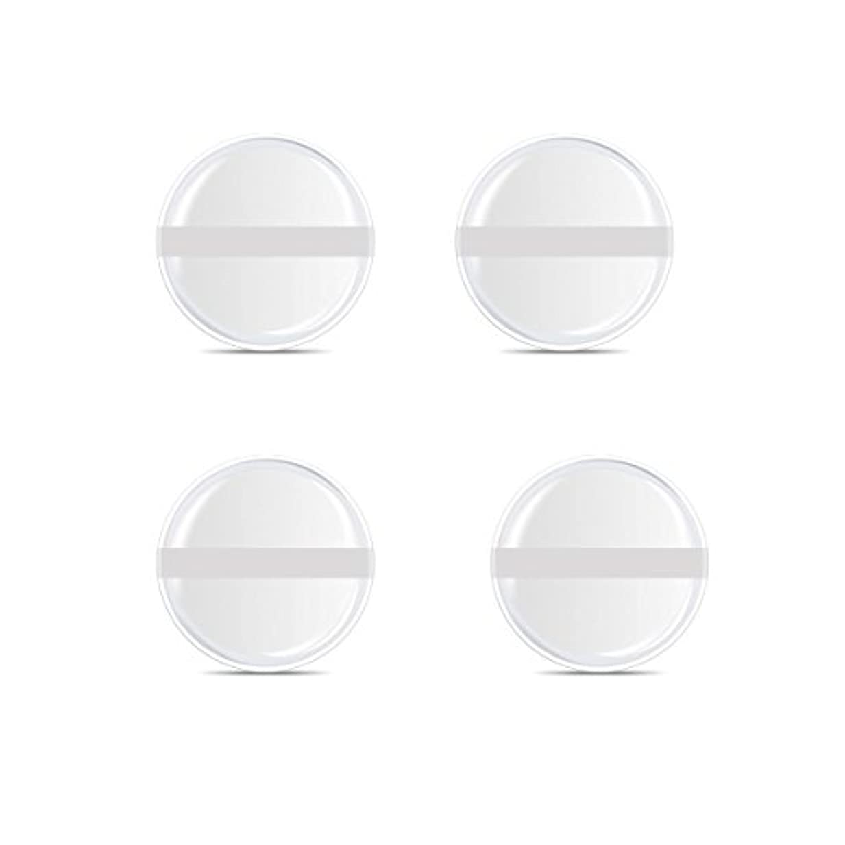 シリコンパフ 帯付き メイクスポンジ ゲルパフ ゼリーパフ 清潔しやすい衛生 柔らかく 透明な 4枚入 (円形 4入り)