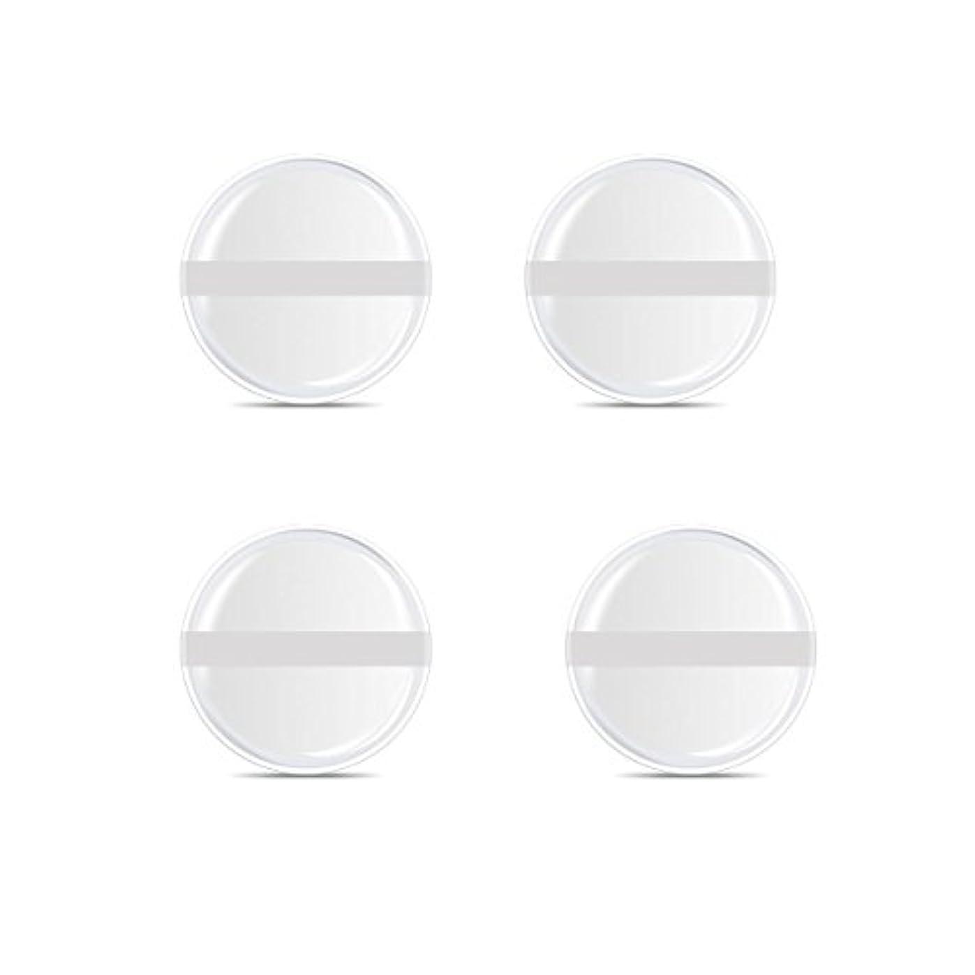 逆に知的注入するシリコンパフ 帯付き メイクスポンジ ゲルパフ ゼリーパフ 清潔しやすい衛生 柔らかく 透明な 4枚入 (円形 4入り)