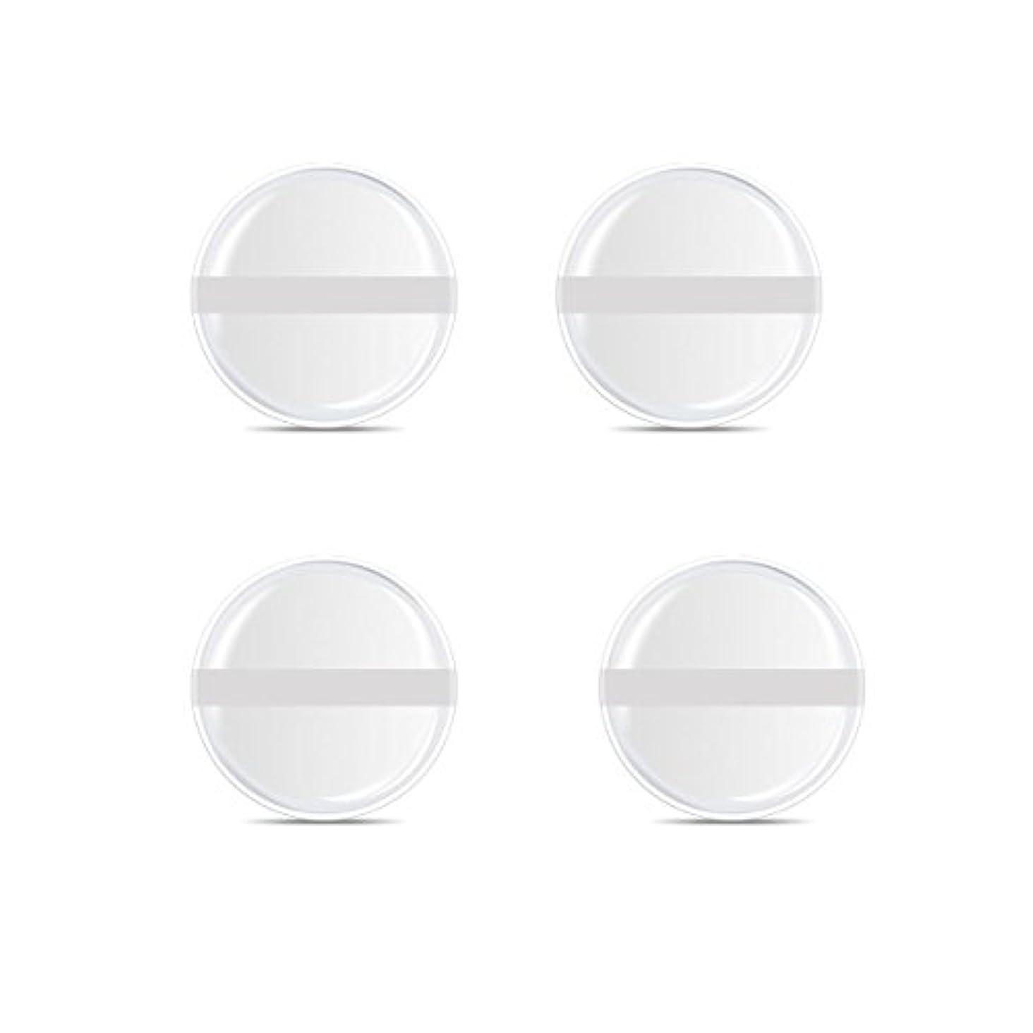 相対的パズル押すシリコンパフ 帯付き メイクスポンジ ゲルパフ ゼリーパフ 清潔しやすい衛生 柔らかく 透明な 4枚入 (円形 4入り)