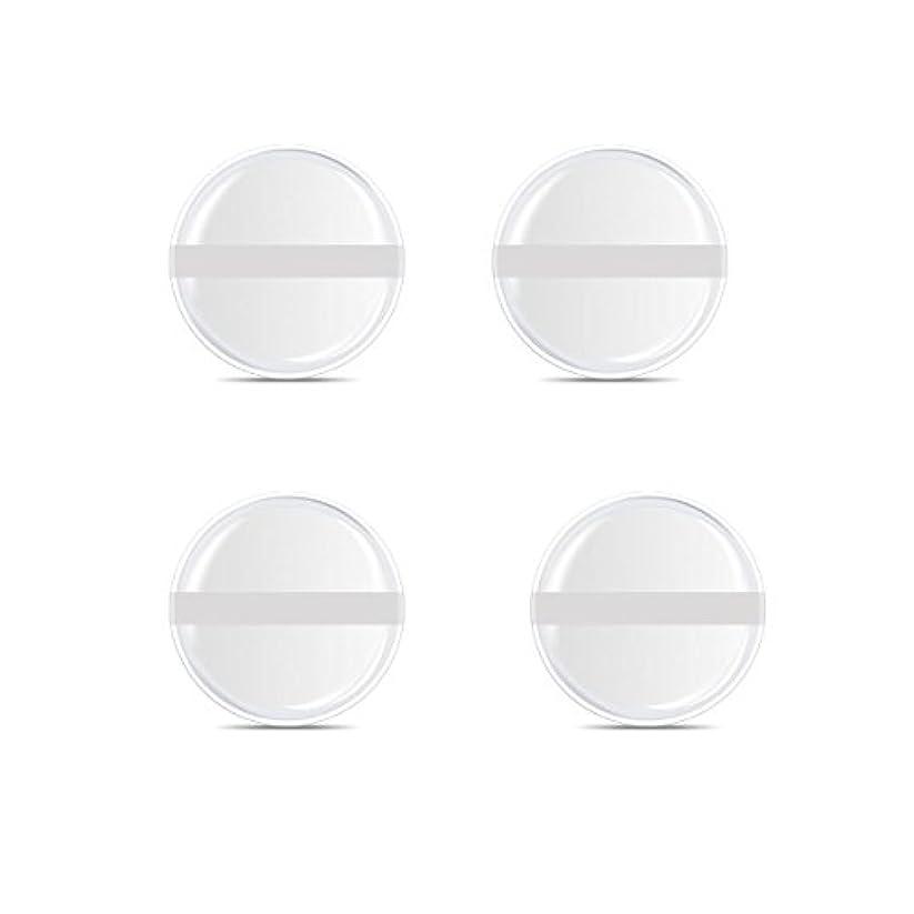 どっちでも通貨協力するシリコンパフ 帯付き メイクスポンジ ゲルパフ ゼリーパフ 清潔しやすい衛生 柔らかく 透明な 4枚入 (円形 4入り)