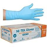 Ni-Tek Nitrile Gloves, Blue, Powder Free, Extra Large, Long Cuff 300 mm, 100 per Box