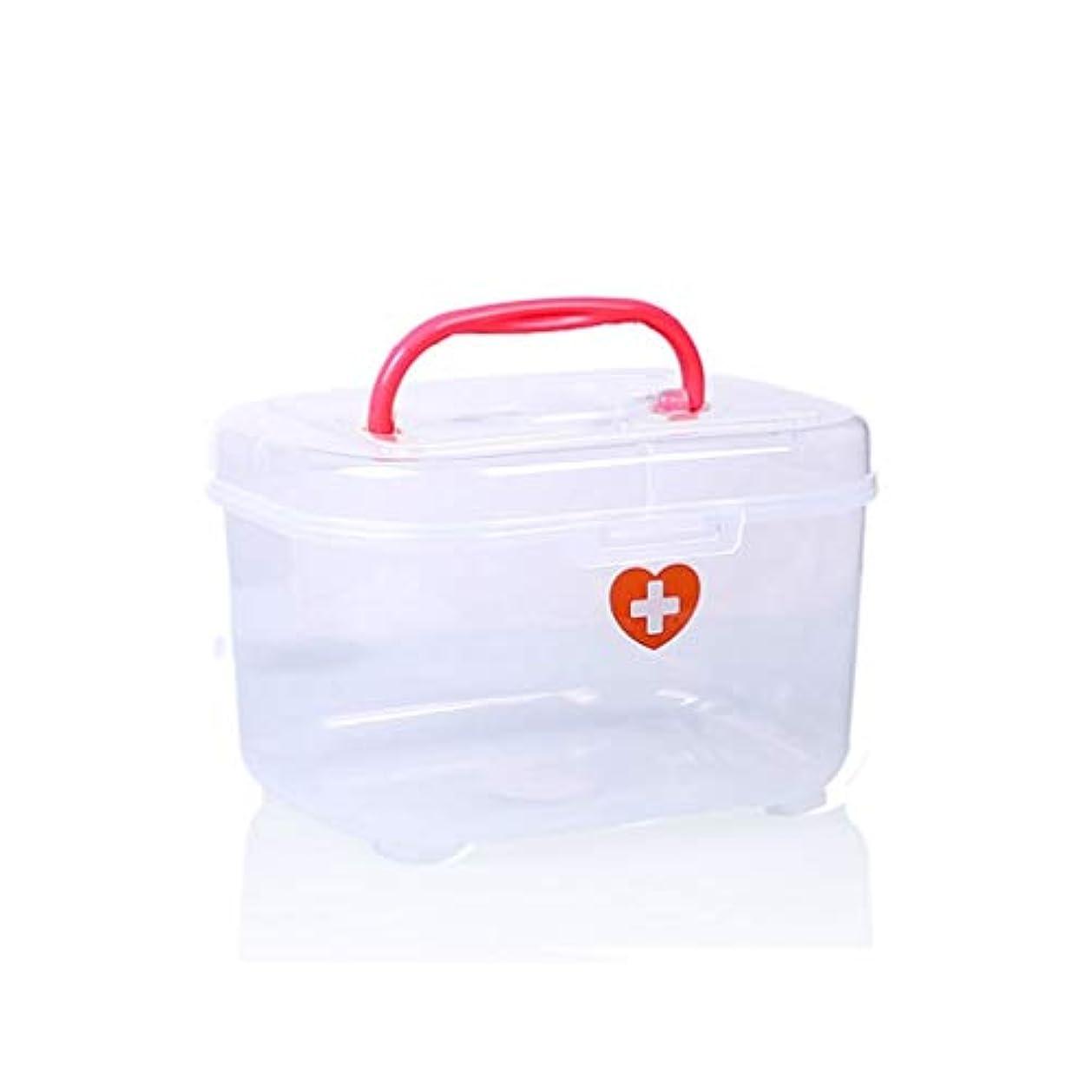過ち回答実行一般的なドラッグ収納ボックス、プラスチック製の大、小、中、多層、家庭用薬箱 HUXIUPING (Color : Red, Size : M)