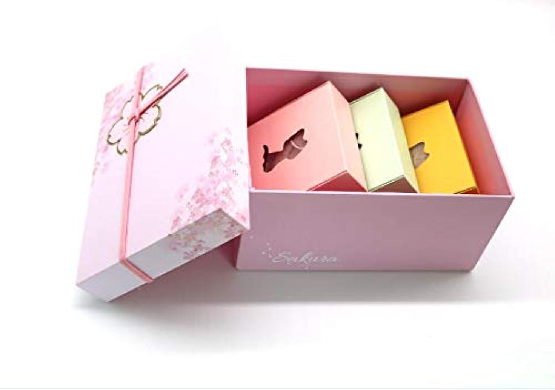 分注する苦行辛い100%の凍りこんにゃくスポンジ 蒟蒻洗顔クロス 桜のプレゼントケースセット品 小さい贈り物付け 洗顔用/体用 3個セット(桜・1枚 黄・1枚 青・1枚)
