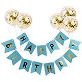 誕生日 飾り付け ブルー セット happy birthday バナー ガーランド 紙吹雪入れ バルーン 風船 可愛い ゴールド 男の子 6枚セット (ブルー)