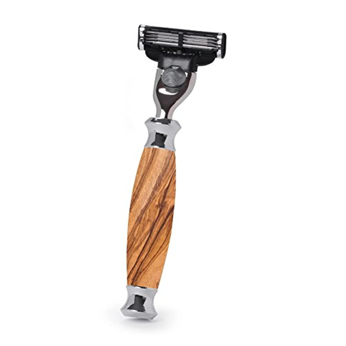 安全でない快い建築家Hans Baier Exclusive - Razor Mach 3, olive wood