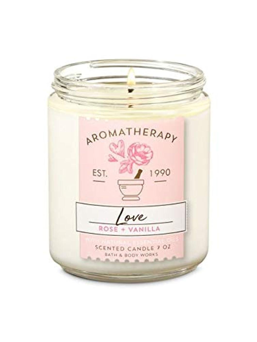 【Bath&Body Works/バス&ボディワークス】 アロマキャンドル アロマセラピー ラブ ローズバニラ Aromatherapy 1-Wick Scented Candle LOVE Rose Vanilla 7oz...