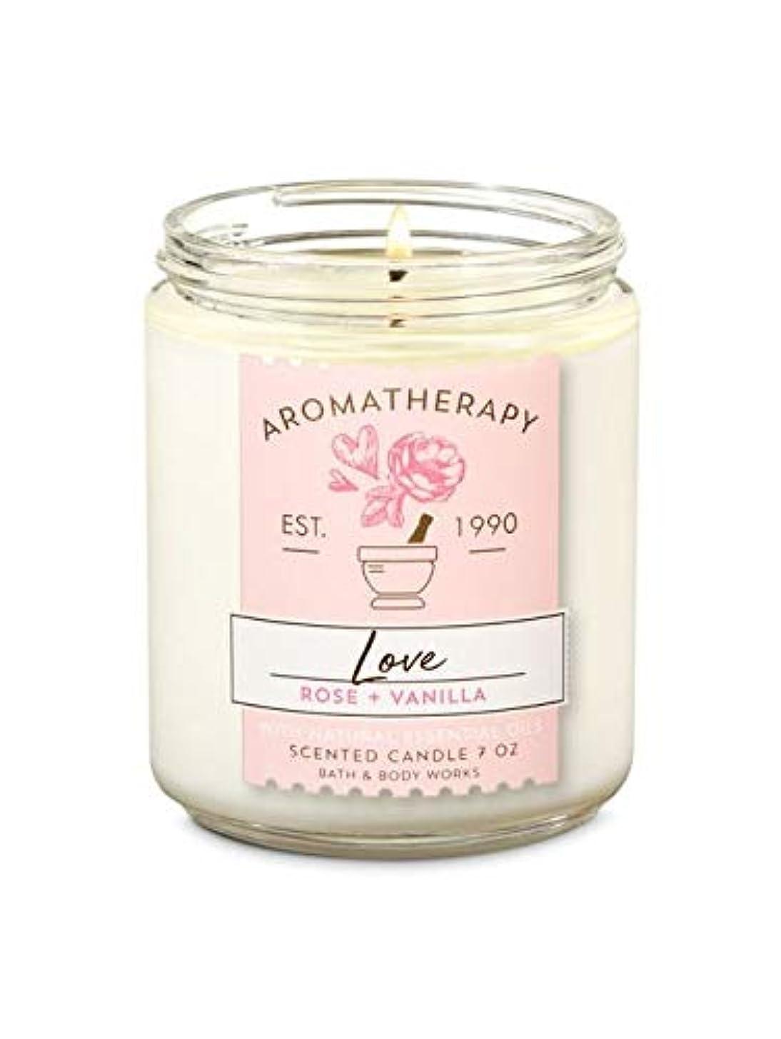 有害麻酔薬陽気な【Bath&Body Works/バス&ボディワークス】 アロマキャンドル アロマセラピー ラブ ローズバニラ Aromatherapy 1-Wick Scented Candle LOVE Rose Vanilla 7oz...