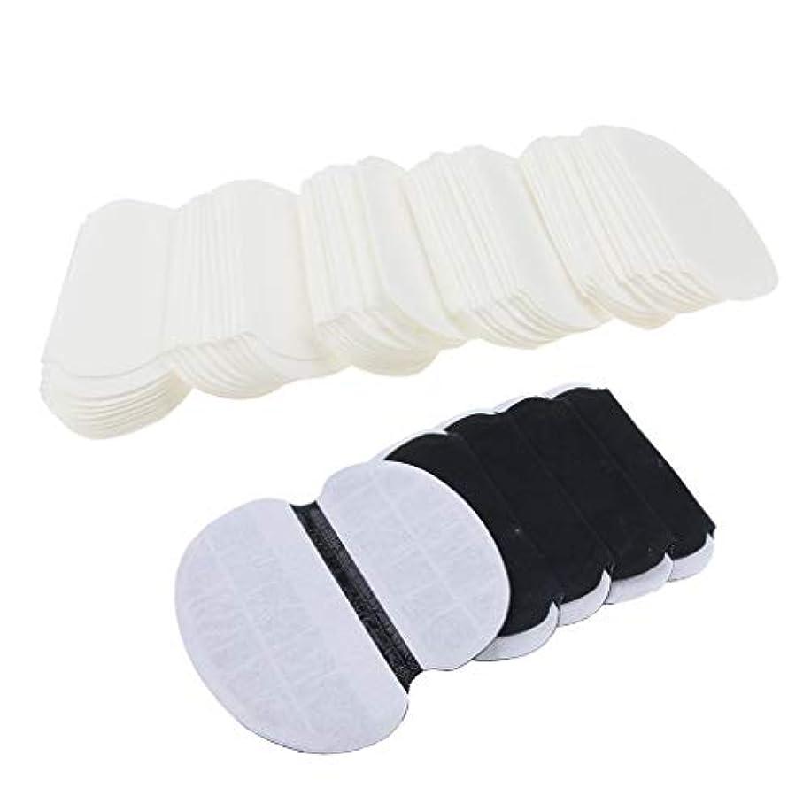 牽引モノグラフ証明dailymall 100個の脇の下汗パッド-男性と女性のための多汗症と戦う-目に見えない、接着剤、使い捨て-脇の下ガードシールド白+黒