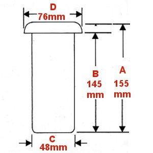 お墓用花立 高級ステンレス製 中入れ式 ツバなし 筒径:48mm(大) リング下深さ:145mm 1対2本セット [S-48(大)]