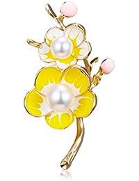 AILUOR エレガントなエナメル 梅の花 ブローチピン ファッションゴールドメッキ パール花柄ブローチ ラペルピン 女性 女の子 ブライダル 結婚式 コサージュ ジュエリーギフト イエロー