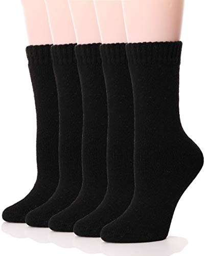 Womens Wool Socks Thermal Heavy Thick Soft Warm Fuzzy Work Winter Socks 5 Pack (Black)