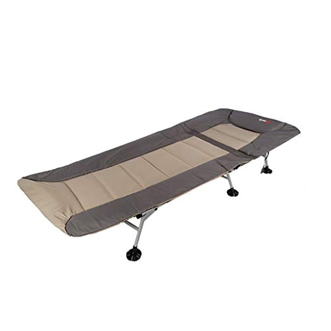 心配達成する構造屋外ポータブルシングル折りたたみベッド、オフィスラウンジチェア、シエスタベッド付きベッド (色 : クリーミーホワイト)