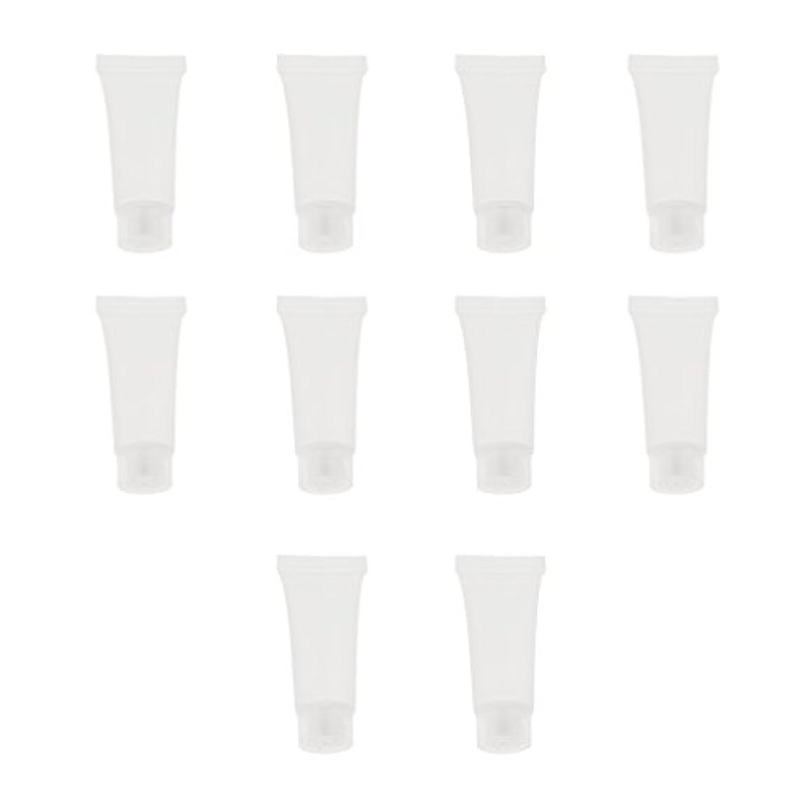 変換するゆるく自分の10個 空チューブ クリームチューブ 透明 プラスチック製 コスメ 詰替え メイクアップ ローション コンテナ 収納ボトル 2サイズ選べる - 10g