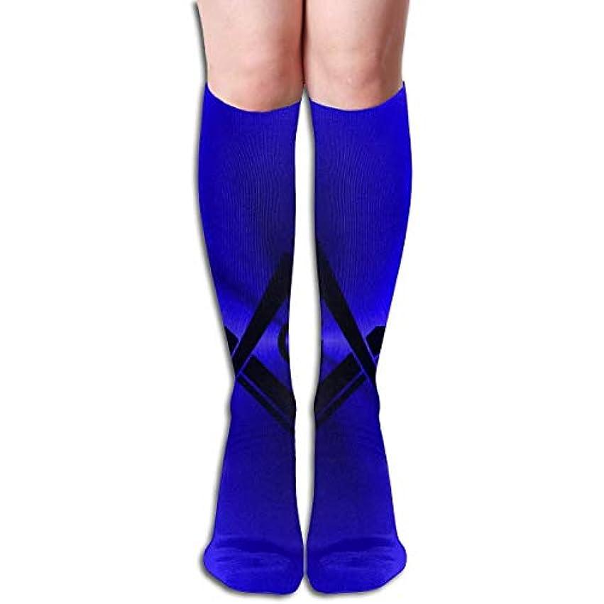 マージン苦行協会qrriyノベルティデザインクルーソックス、フリーメーソンロゴスクエアコンパス、クリスマス休暇クレイジー楽しいカラフルな派手な靴下、冬暖かいストレッチクルーソックス