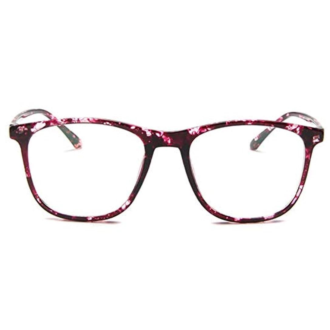 適切なの間に大きなスケールで見ると韓国の学生のプレーンメガネ男性と女性のファッションメガネフレーム近視メガネフレームファッショナブルなシンプルなメガネ-パープル