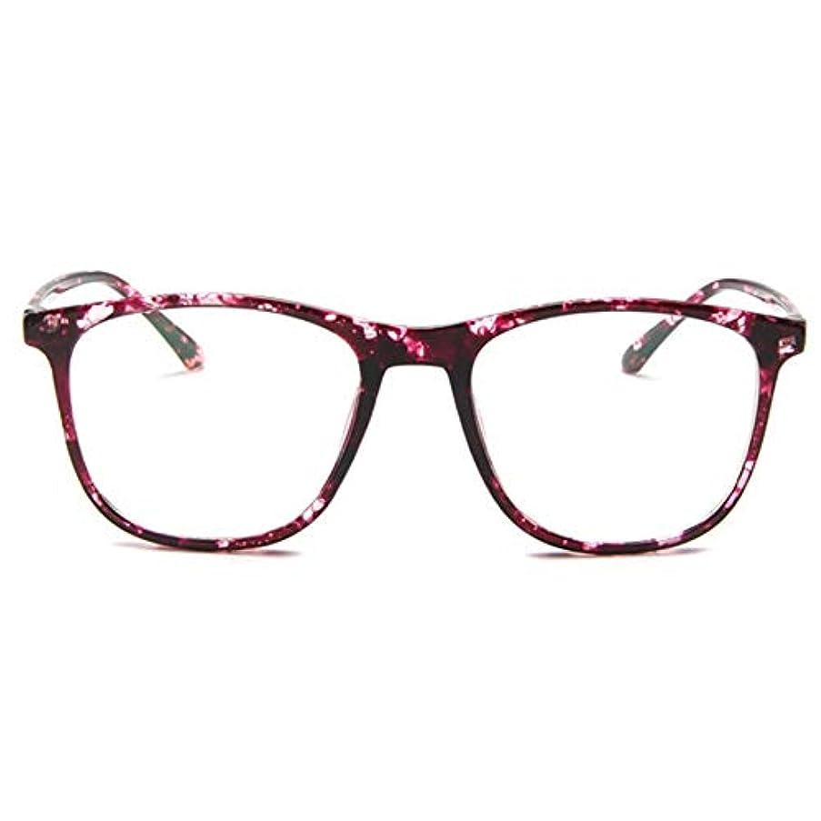 価値不安定な調和のとれた韓国の学生のプレーンメガネ男性と女性のファッションメガネフレーム近視メガネフレームファッショナブルなシンプルなメガネ-パープル