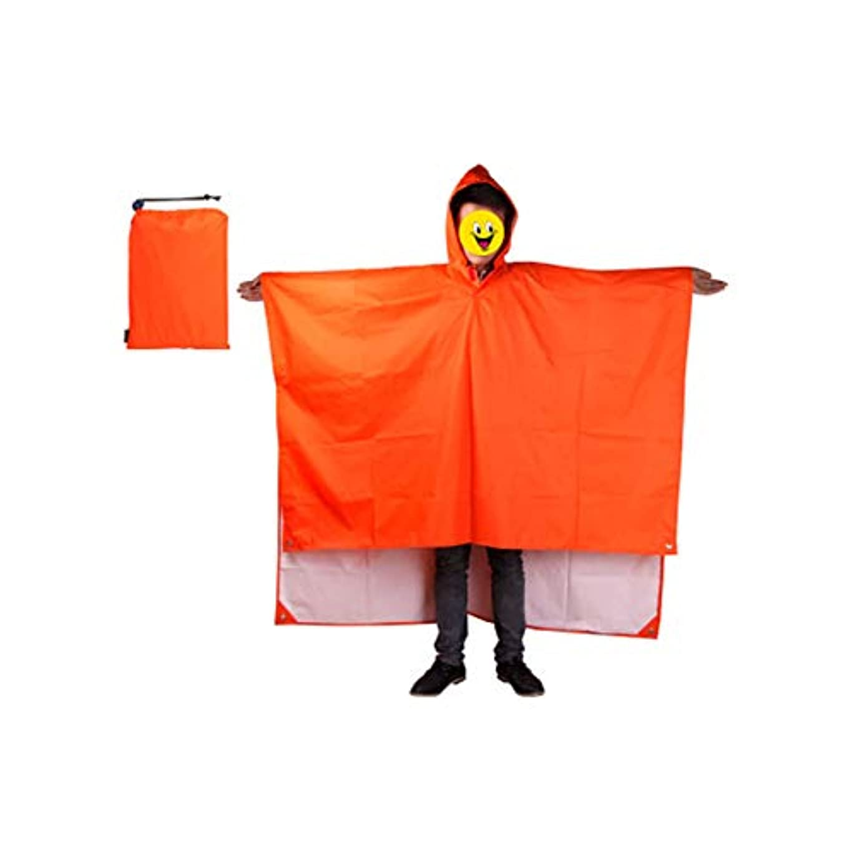 激怒ドアブレークJTWJ バックパックレインコートアウトドア登山ハイキングスリーインワンワンピースポンチョユニセックス多機能超軽量布 (色 : Orange)