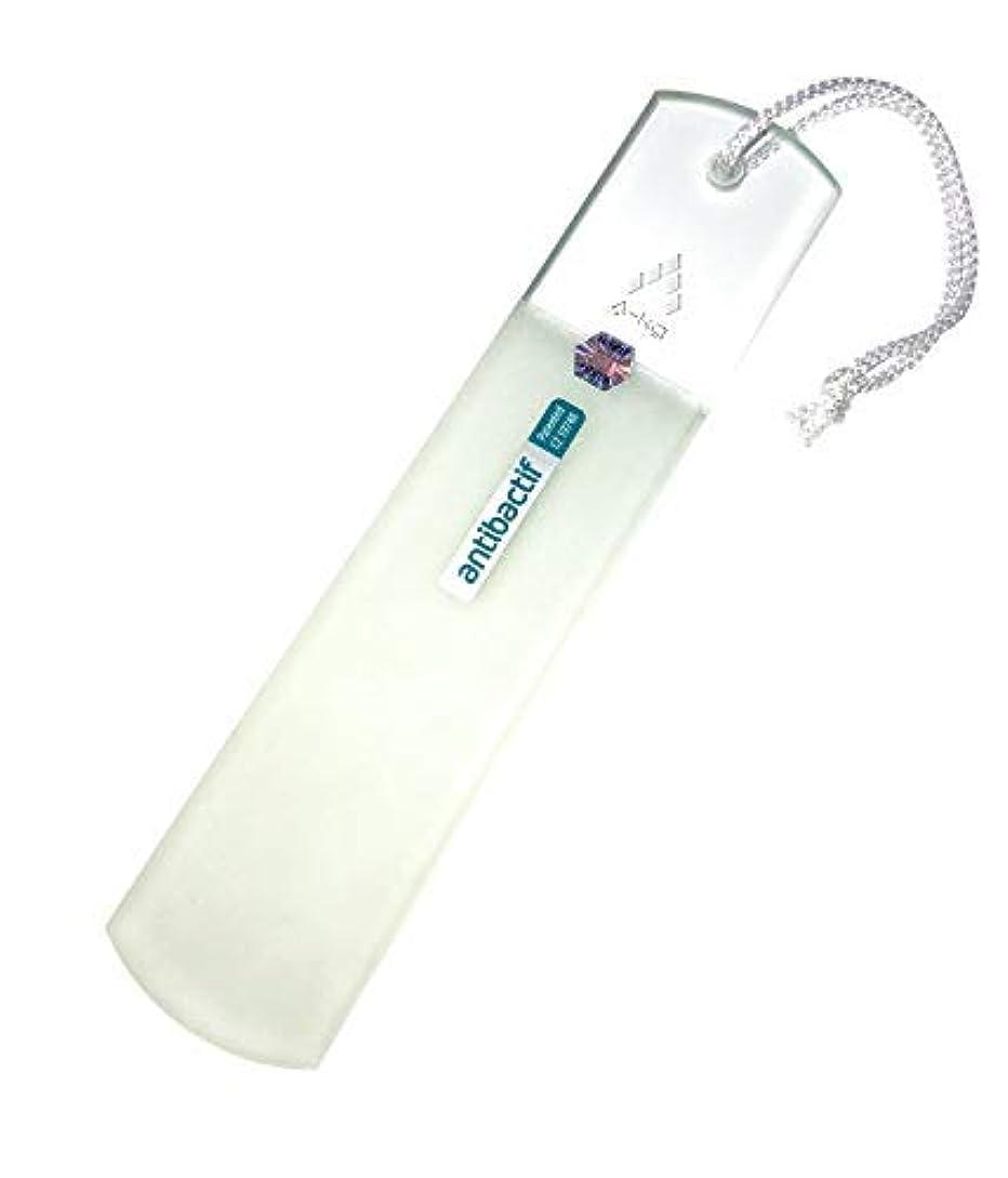 悔い改め統合不屈A-KG BLAZEK かかと用やすり ガラス製 抗菌 クリア 抗菌光触媒コーティング Antibactif かかと削り かかとやすり かかと 角質取り 乾かす時に便利なヒモ付