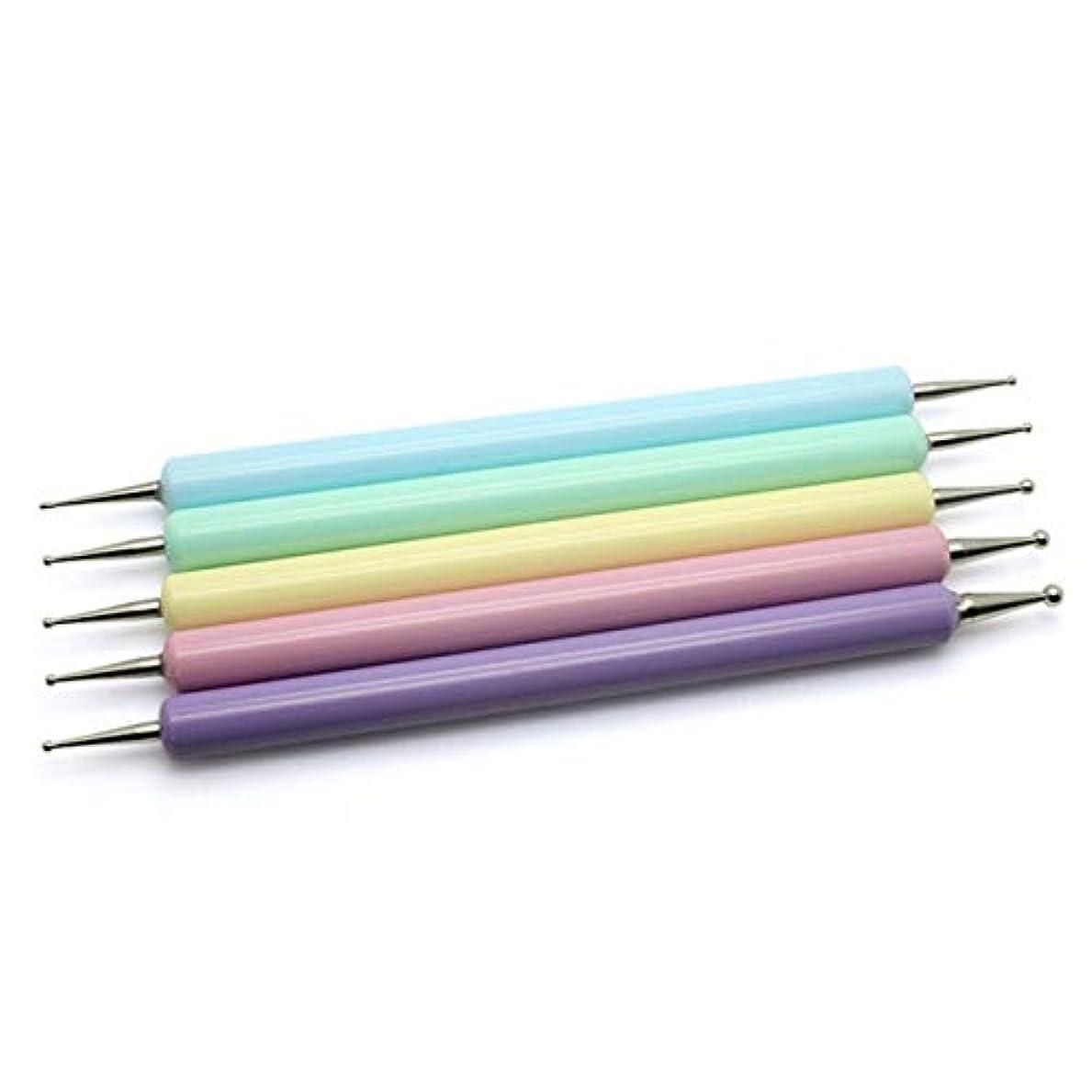 増幅する生産的いつでもサリーの店 フォントレスネイルアートドリルペンダブルヘッド充填ライン鉛筆花アクリル棒フック花描画ドットマニキュアデザインツール(None Picture Color)