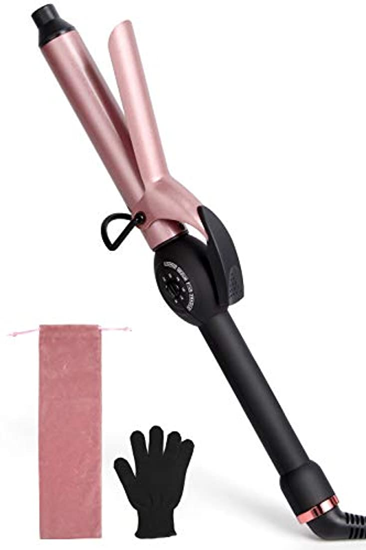 キャプション形式栄養ヘアアイロン MOCREO カールアイロン コテ 25mm 80?230℃ 5段階温度調節 マイナスイオン プロ仕様 セラミックプレート 自動電源OFF 海外対応 耐熱手袋付き 日本語説明書