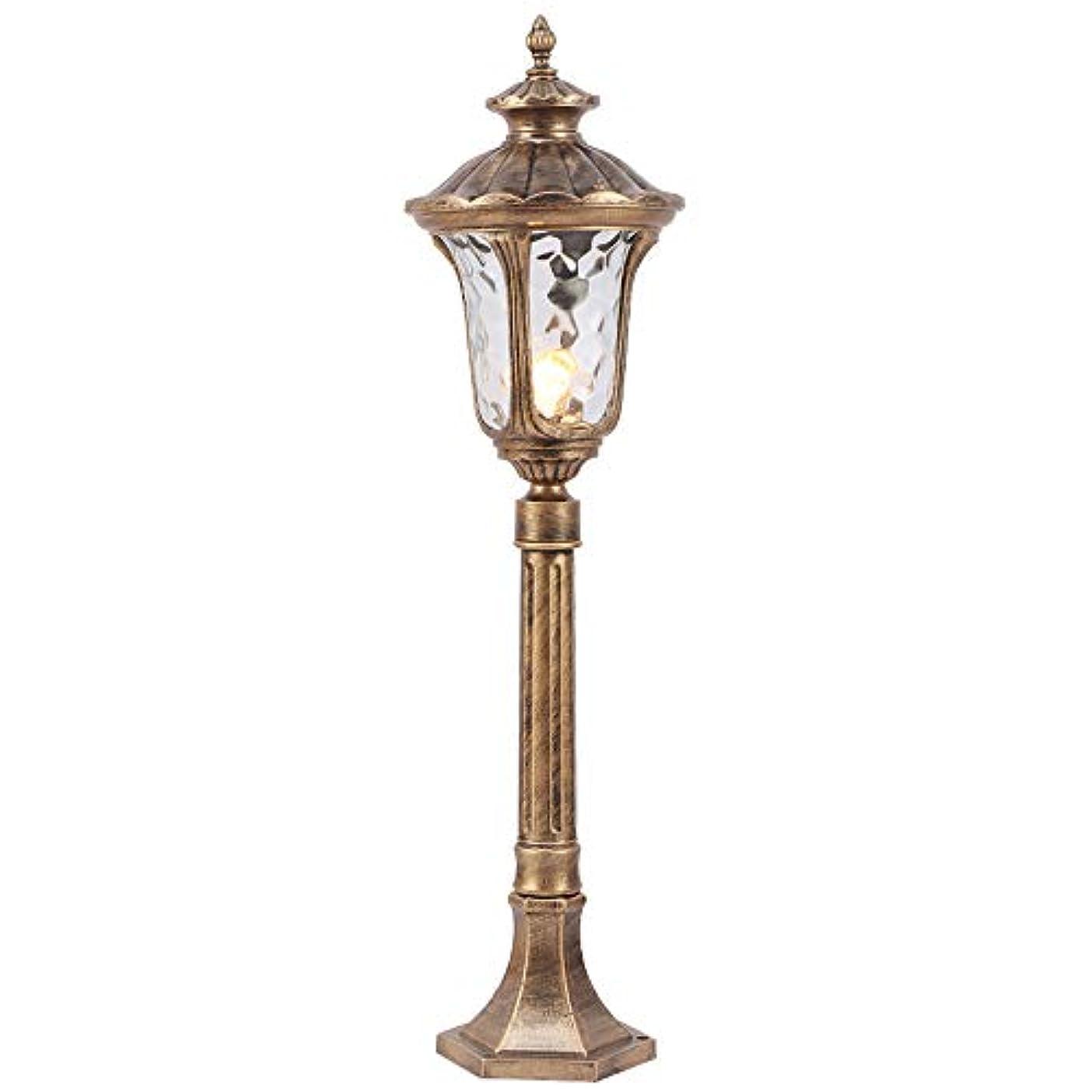 プログラムいたずらな抑圧Pinjeer E27ヨーロッパヴィンテージ防水屋外ガラスコラムライトレトロ工業用アルミニウムポストライト芝生風景ガーデンストリートパーク照明柱ランプ (Color : Brass, サイズ : Height 80cm)