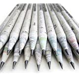 Eco newspaper pencil- 60 pieces 2B made from 100% recycled newspaper pencil for writing/drawing/design for office/schools