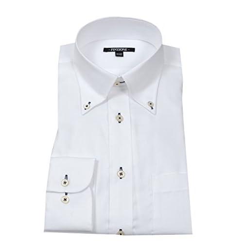 (オジエ) ozie 〔00002049〕【ワイシャツ・カッターシャツ】レギュラーフィット・形態安定・綿100%・ボタンダウン・織柄無地 M ホワイト白シャツ 5926-03-W-75