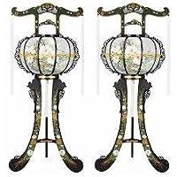 霊前灯 白水 1対(2台1組) 高さ約90cm 廻転筒付 日本製 行灯 盆提灯 八女提灯