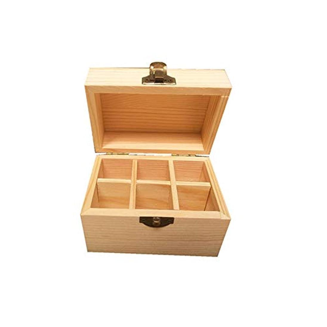 化学薬品ポップ慣れているエッセンシャルオイルボックス ウッド精油収納ボックスの6種類は、油があなたの最高のエッセンシャルオイルを披露完璧なケースです アロマセラピー収納ボックス (色 : Natural, サイズ : 12X8X8.5CM)